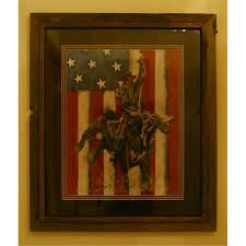 American Flag Backdrop Bull Rider With American Flag Backdrop Limited Edition Signed