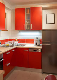 small modern kitchen design with l shaped white wooden kitchen