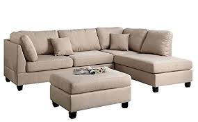 Beige Sectional Sofas Modern Contemporary Polyfiber Fabric Sectional Sofa