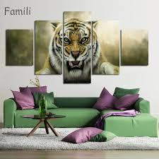 home decor dropship modern tiger dropship print canvas paintings 5 panel home decor for