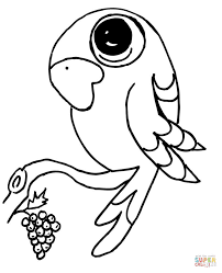 funny parrot on a branch coloring page free printable coloring pages