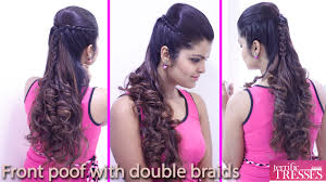 Front Poof Hairstyles | front poof with double braid hair style youtube