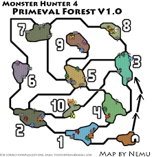 Resource Map Monster Hunter 4 Primeval Forest Resource Map For 3ds By