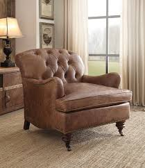 Retro Accent Chair Acme 96677 Durham Retro Brown Top Grain Leather Accent Chair