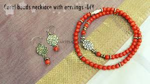 coral beads necklace images Coral beads necklace with earrings diy art platter jpg
