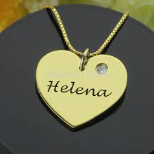 personalized heart pendant aliexpress buy gold color engraved heart birthstone necklace