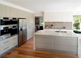 High Gloss White Kitchen Cabinets Kitchen With High Gloss Cabinets And White Marble Island