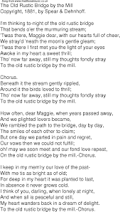 Light In Your Eyes Lyrics Old Time Song Lyrics For 04 The Old Rustic Bridge By The Mill