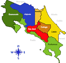 san jose costa rica on map costaricalaw maps of the provinces and cantons of costa rica
