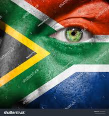Afican Flag South African Flag Painted On Mans Stock Photo 150527042