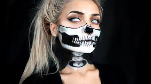 Skeleton Face Paint For Halloween by Half Skull U0026 Exposed Spine Halloween Makeup Tutorial Youtube
