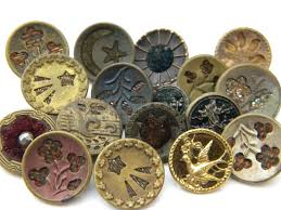 Vintage Velvet Flowers - 17 antique vintage metal buttons victorian old picture velvet