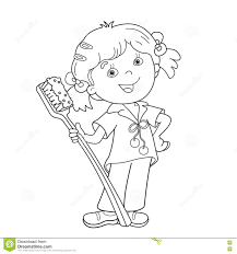 coloring page outline of cartoon with toothbrush stock vector