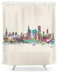 society6 chicago illinois skyline shower curtain contemporary