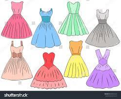doodle dresses set different kinds summer stock vector 400935529