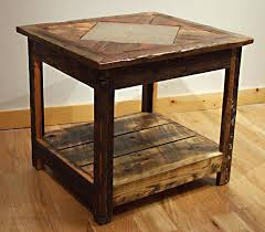 reclaimed wood end table wood end tables end table wood table with resin inlay mymatchatea co