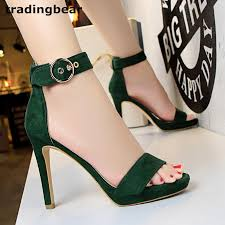 ladies gladiator sandals one strappy green high heel shoes