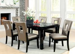 Glass Top Dining Table Set by Furniture Of America Marjesko 7 Piece Black Glass Top Dining Set