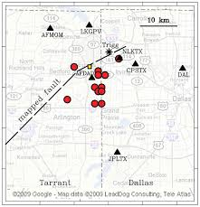 Map Of Dallas Area Dallas Fort Worth Earthquakes Coincident With Activity Associated