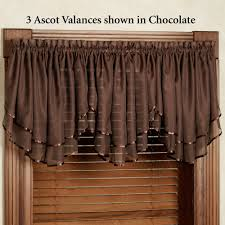 Chocolate Brown Valances For Windows Elegance Sheer Layered Ascot Valance