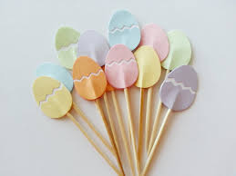 Easter Decorations Online Shop by Aliexpress Com Buy Pastel Easter Eggs Cupcake Toppers Wedding