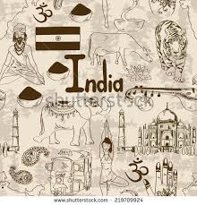 fun sketch indian seamless pattern stock vector 218311666
