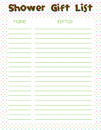 baby shower gift list template baby shower ideas gallery