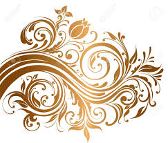 beautiful gold ornament with flowers and curls royalty free cliparts