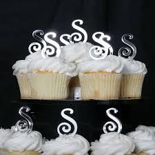 monogram cupcake toppers color silver mirror font harrington wedding edibles