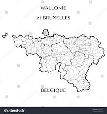 Madagascar Blank Map by Detailed Map Belgian Regions Wallonia Brusselscapital Stock Vector