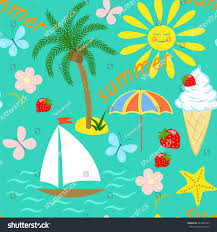seamless drawing on theme summer vacation stock vector 441808165