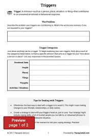 triggers worksheet therapist aid