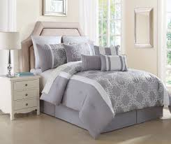 10 Pc Comforter Set 10 Piece Lemieux Gray White Comforter Set Walmart Com