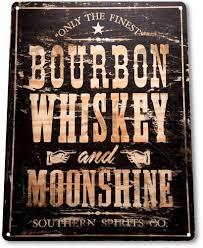 bourbon sign tin sign bourbon whiskey moonshine decor wall
