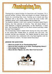 esl worksheets thanksgiving day
