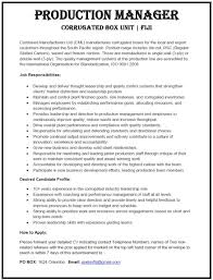 Production Manager Resume Television Print Production Manager