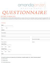 Home Design Client Questionnaire Client Questionnaire Getting To Know You For Business