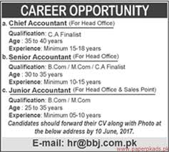 chief accountant chief accountant senior accountant and junior accountant jobs