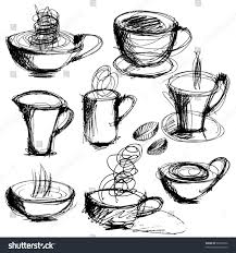 art sketching set coffee tea cups stock vector 97635332 shutterstock