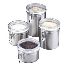 essential home 4 pc canister set stainless steel home