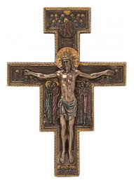 san damiano crucifix san damiano crucifix with bronze colored jesus benedictine