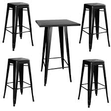 amerihome loft style metal bar table set in black with stackable