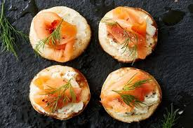 bellini canape smoked trout blini