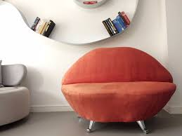 unusual design modern red lips mouth funky chaise lounge chair