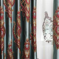 Noble Curtains Red Blue Embroidery Floral Thick Country Curtains