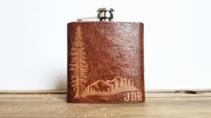 Wooden Flasks Mountain Man Leather Flask Personalized Initials Red Wood