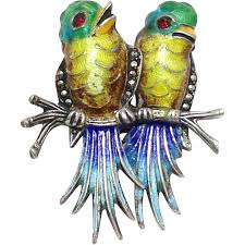 vintage german sterling silver love birds brooch with colorful