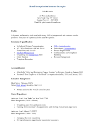 Sample Resume For Hotel by 30 Effective Resume Samples For Receptionist Position Vinodomia