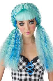Halloween Costumes Wigs Crimped Doll Costume Wig Turquoise Purecostumes