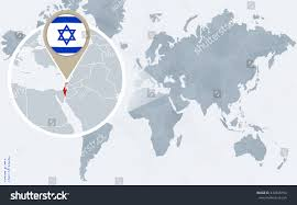 Israel World Map by Abstract Blue World Map Magnified Israel Stock Vector 430368154